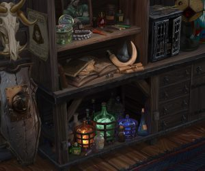 A shelf of potions and equipment